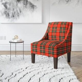 Skyline Furniture Ancient Stewart Red Plaid Slipper Accent Chair