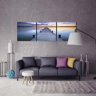 Furinno Senik 'Pier Sunrise' MDF 72-inch x 24-inch 3-panel Framed Photography Print