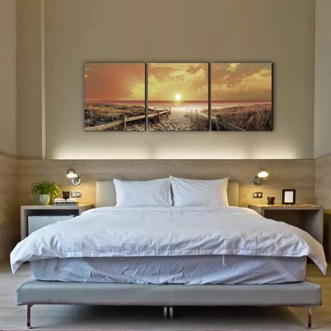Furinno Senik 'Sunrise Meadow' 72-inch x 24-inch 3-panel MDF Framed Photography Triptych Print