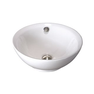 White Vitreous China Clay 18-inch x 18-inch Round Bathroom Vessel Sink
