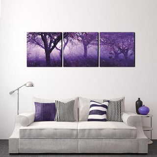 Furinno Senik 'Purple Trees' Multicolored MDF 3-panel Framed Photography Triptych Print