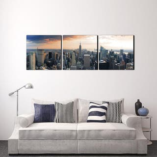 Furinno SENIK 'Empire State City View' MDF 72-inch x 24-inch 3-panel Framed Photography Triptych Print|https://ak1.ostkcdn.com/images/products/12858787/P19621068.jpg?impolicy=medium