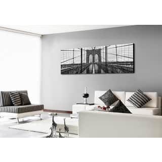 Furinno SENIK 'Brooklyn Bridge' MDF 72-inch x 24-inch 3-panel Framed Photography Triptych Print|https://ak1.ostkcdn.com/images/products/12858799/P19621070.jpg?impolicy=medium