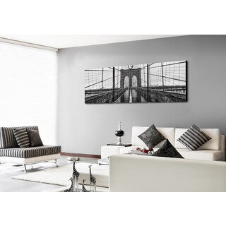 Furinno SENIK 'Brooklyn Bridge' MDF 72-inch x 24-inch 3-panel Framed Photography Triptych Print - Green