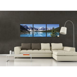 Furinno SENIK Snow Lake 3-Panel MDF Framed Photography Triptych Print, 72 x 24-in