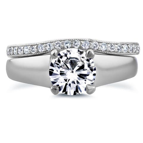 Annello by Kobelli 14k White Gold Round Cut Moissanite Solitaire and 1/6ct TDW Diamond Band Bridal S