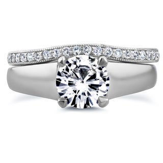 Annello 14k White Gold Round Cut Moissanite Solitaire and 1/6ct TDW Diamond Band Bridal Set (G-H, I1-I2)