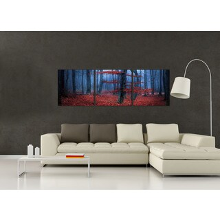 Furinno SENIK Enchanted Forest 3-Panel MDF Framed Photography Triptych Print, 72 x 24-in
