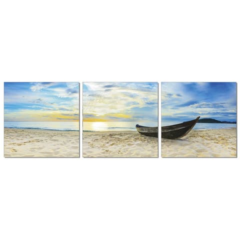 Furinno 'Fishing at Sunset' 3-panel Framed Photography Triptych Print