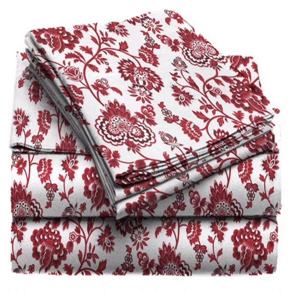 Exquisite Collection Red and White Floral Sheet Set
