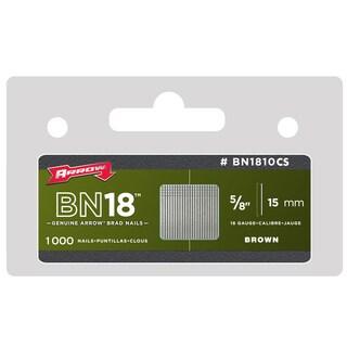 "Arrow Fastener BN1810CS 5/8"" 15mm 18 Gauge Brown Brad Nails 1000-ct"