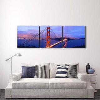 Furinno Senik 'Golden Gate' Multicolored MDF 3-panel Framed Photography Triptych Print