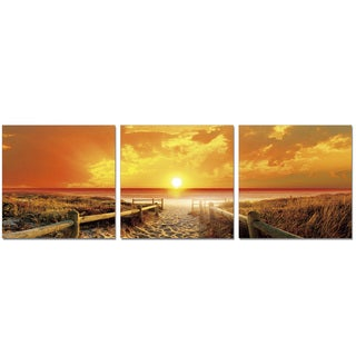 Furinno SENIC 'Sunrise Meadow' 60-inch x 20-inch 3-panel Wood-wrapped Canvas