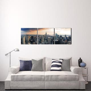 Furinno SENIC 'Empire State City View' Canvas on Wood 60-inch x 20-inch 3-panel Artwork|https://ak1.ostkcdn.com/images/products/12859088/P19621589.jpg?impolicy=medium