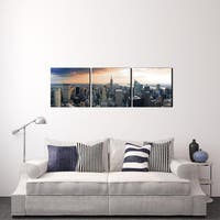Furinno SENIC 'Empire State City View' Canvas on Wood 60-inch x 20-inch 3-panel Artwork