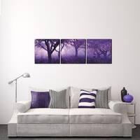 Furinno 'Purple Trees' 60-inch x 20-inch 3-Panel Canvas on Wood Frame - Purple - 60 x 20
