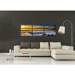 Furinno SENIC 'Sky and Beach' 60-inch x 20-inch 3-panel Wood-framed Canvas Art
