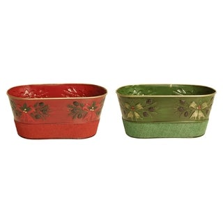 Embossed Holiday Boughs Holiday Metal Pot Cover with Red and Green Burlap, Double, 4""