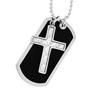 Men's Stainless Steel and Carbon Fiber Cross and Dog Tag