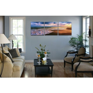 Furinno SENIC 'Beach Sunset' 60-inch x 20-inch 3-Panel Wood-framed Canvas Art