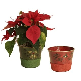 Embossed Holiday Boughs Holiday Metal Pot Cover with Red and Green Burlap, 5""