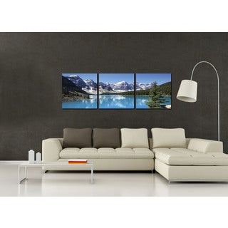 Furinno SENIC 'Snow Lake' 60-inch x 20-inch 3-Panel Wood-framed Canvas Wall Art