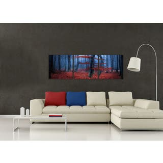 Furinno Senic 'Enchanted Forest' 60-inch x 20-inch 3-panel Wood-framed Canvas|https://ak1.ostkcdn.com/images/products/12859201/P19621598.jpg?impolicy=medium