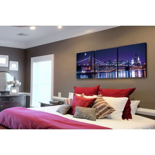 Furinno SENIC NYC The City Never Sleeps 60-inch x 20-inch 3-Panel Canvas on Wood Frame