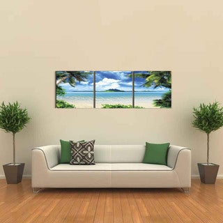Furinno SENIC 'Coconut Tree' Canvas in Wood Frame 60-inch x 20-inch Scenery 3-panel Print