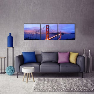 Furinno Senic 'Golden Gate' Canvas on Wood Frame 60-inch x 20-inch 3-panel Wall Art