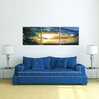 Furinno Senic 'Wave' 60-inch x 20-inch Wood-framed 3-panel Canvas