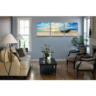 Furinno 'Fishing at Sunset' 3-panel Canvas Wall Art