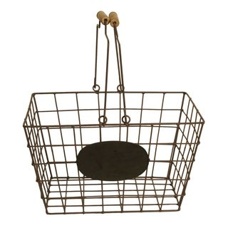 Wire Market Basket with Chalkboard Name Plate for Labeling, Medium