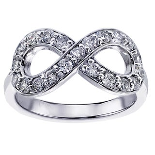 14k or 18k White Gold 5/8 CT Diamond Infinity Anniversary Ring