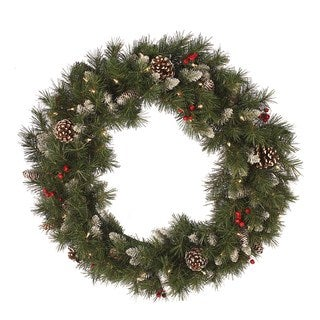 White/Green/Red Wreath with 50 Clear Lights