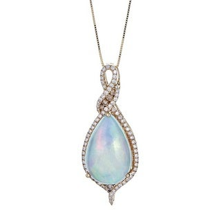 Anika and August 14k Yellow Gold Ethiopian Opal and Brown 3/4ct TDW Diamond Pendant (G-H, I1-I2)