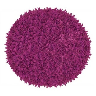 Hand Knotted Jersey Shaggy Pink Indoor Accent Rug (4.9' Round)