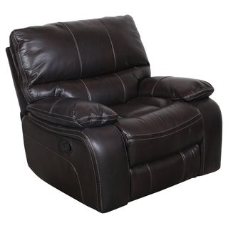 Porter Alameda Brown Vegan Leatherlike Rocking Recliner with Elegant Black Contrast Welt