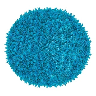 Blue Jersey Hand-knotted Shaggy Indoor Accent Round Rug (4'9 Round)
