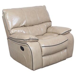 Porter Alameda Cream Vegan Leatherlike Rocking Recliner with Elegant Brown Contrast Welt