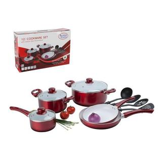 12 Pc Ceramic Coated Red Cookware Set w/ Glass Lids & Utensils - Pots & Pans