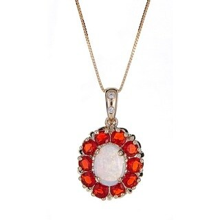 Anika and August 14k Yellow Gold Fire Opal, Australian Opal and Diamond Accent Pendant (G-H, I1-I2)