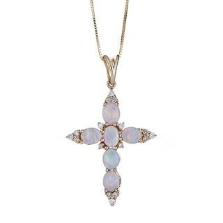 Anika and August 14k Yellow Gold Australian Opal and 1/6ct TDW Diamond Pendant (G-H, I1-I2)