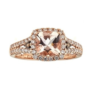 Anika and August 14k Rose Gold Morganite and Brown Diamond Accent Ring (G-H, I1-I2)