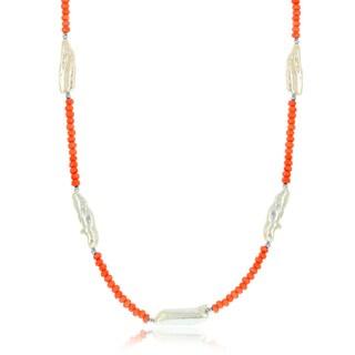 La Preciosa Sterling Silver Biwa FWP and Natural Stone Station Necklace