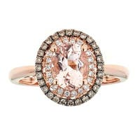 Anika and August 14k Rose Gold Morganite and 1/5ct TDW Brown Diamond Ring (G-H, I1-I2)