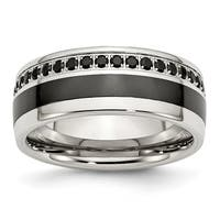 Stainless Steel Polished Black Ceramic Inlay Cubic Zirconia 9mm Band