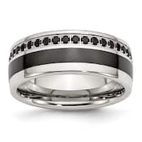 Chisel Stainless Steel Black Ceramic Inlay Cubic Zirconia 9mm Band