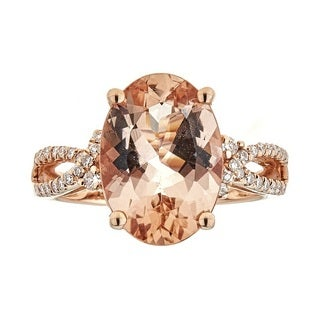 Anika and August 14k Rose Gold Morganite and 1/4ct TDW Diamond Ring (G-H, I1-I2)