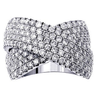 14k or 18k White Gold 2 5/8ct Diamond Crossover Anniversary Ring (G-H, SI1-SI2)